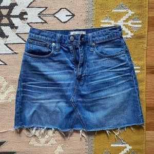Madewell Rigid Denim A-Line Mini Skirt in Lakelin